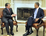 Abdullah II of Jordan Photo - United States President Barack Obama meets King Abdullah II of Jordan in the Oval Office of the White House in Washington DC on Wednesday September 1 2010  This is one of several meetings between the President and Middle East Leaders in advance of the opening of the first direct talks in two years between Israel and the Palestinian Authority scheduled to begin at the State Department in Washington DC tomorrowPhoto by Ron SachsPool-CNP-PHOTOlinknet