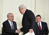 Benjamin Netanyahu Photo - Peace Talks8241JPGRESTRICTED NEW YORKNEW JERSEY OUTNO NEW YORK OR NEW JERSEY NEWSPAPERS WITHIN A 75 MILE RADIUS OF NYCPresident Mahmoud Abbas of the Palestinian Authority and Prime Minister Benjamin Netanyahu of Israel shake hands following remarks by Middle Eastern leaders in the East Room of the White House following their bi-lateral meetings  in Washington DC on Wednesday September 1 2010  The statements are in advance of the opening of the first direct talks in two years between Israel and the Palestinian Authority scheduled to begin at the State Department in Washington DC tomorrow  King Abdullah II of Jordan looks on from rightCredit Ron Sachs  Pool via CNPUnited States President Barack Obama and Middle Eastern leaders make statements in the East Room of the White House following their bi-lateral meetings  in Washington DC on Wednesday September 1 2010  The statements are in advance of the opening of the first direct talks in two years between Israel and the Palestinian Authority scheduled to begin at the State Department in Washington DC tomorrow  From left to right Prime Minister Benjamin Netanyahu of Israel President Hosni Mubarak of Egypt President Mahmoud Abbas of the Palestinian Authority and King Abdullah II of JordanPhoto by Ron SachsPoolCNP-PHOTOlinknet
