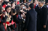 Alex Wong Photo - WASHINGTON DC - JANUARY 19 (AFP OUT)  Chinese President Hu Jintao (2nd R) is greeted by guests as US President Barack Obama (R) looks on during a state arrival ceremony at the South Lawn of the White House January 19 2011 in Washington DC Hu and President Obama will hold a press conference at the White House later today  Photo by  Alex WongPoolCNP-PHOTOlinknet