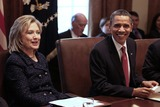 Mark Wilson Photo - United States President Barack Obama (R) and US Secretary of State of State Hillary Rodham Clinton participate in a cabinet meeting at the White House Tuesday February 1 2011 in Washington DC Later in the day President Obama will meet with members of the Technology CEO Council to discuss competitiveness innovation and the need to create jobs  Photo by Mark Wilson PoolCNP-PHOTOlinknet