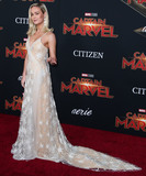 Brie Larson Photo - HOLLYWOOD LOS ANGELES CA USA - MARCH 04 Actress Brie Larson wearing a Rodarte gown and APM Monaco rings arrives at the World Premiere Of Marvel Studios Captain Marvel held at the El Capitan Theatre on March 4 2019 in Hollywood Los Angeles California United States (Photo by Xavier CollinImage Press Agency)