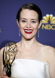 Calvin Klein Photo - (FILE) Claire Foy reveals deep anxiety beneath her career success The actor has revealed she has battled for many years with paralysing anxiety LOS ANGELES CA USA - SEPTEMBER 17 Outstanding Lead Actress in a Drama Series Claire Foy wearing a Calvin Klein dress and Kwiat jewelry poses in the press room during the 70th Annual Primetime Emmy Awards held at Microsoft Theater at LA Live on September 17 2018 in Los Angeles California United States (Photo by Xavier CollinImage Press Agency)