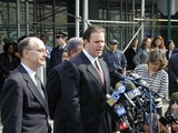 Abner Louima Photo - 3702_Brooklyn New York_Former New York City police officer Charles Schwarz talks to press outside the Federal Courthouse in Brooklyn after being released on One million dollars bail in the police torture of Abner Louima Schwarz was convicted of holding Louima down while police officer Justin Volpe sodimized Louima with a broom handle Schwarz will face another jury in June (PhotoNeil Schneider)CREDIT NEIL SCHNEIDERGLOBE PHOTOS INC  2002