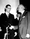 Howard Hughes Photo - Howard Hughes Being Congratulated by Secretary of State Cordell on His Round the World Flight Washington DC 7211938 Supplied by Globe Photos Inc Howardhughesretro